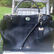 Coach Large Gramercy Satchel 33548 Black Glove-Tanned Leather Beautiful Photo