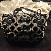 Coach Large Handbag Black and Grey Logo With Silver Accents W Ink Marks Photo
