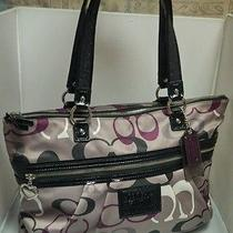 Coach-Large Leather Trim Signature Daisey Glam Poppy Tote-Purple & Taupe Photo