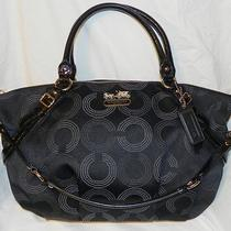 Coach Large Madison Black Dotted Op Art Signature Sophia Satchel 15957 Excellent Photo