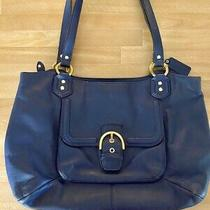 Coach Large Navy Blue Campbell Belle Leather Shoulder Handbag Tote Purse F24961 Photo