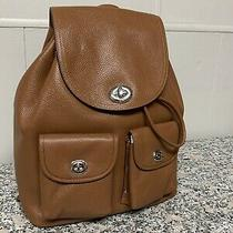 Coach Large Pebbled Leather Saddle Turnlock Rucksack Backpack Msrp 395 New Nwt Photo