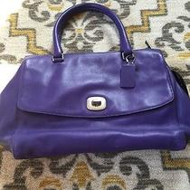 Coach Large Purple Leather Handbag Euc  Photo