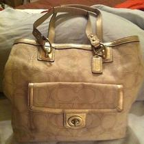 Coach Large Satchel Cream/ivory With Gold Sparkles Signature Fabric Photo