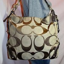 Coach Large Signature Brown Leather Shoulder Hobo Tote Slouch Purse Bag Photo