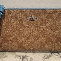 Coach Large Signature Coated Canvas Wristlet Khaki/blue  Nwot Photo