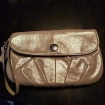 Coach Large Wristlet  Metallic Champaign Shimmer Leather Bag Clutch   Photo