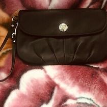 Coach Large Wristlet Pleated Bottom Black Soft Leather Flap Small Bag Photo