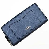Coach Large Zip Around Wallet Metallic Blue Navy Silver Leather Women 'S Photo