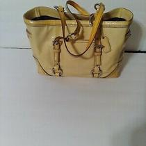 Coach Large Zip Tote Lemon Leather Patent Trim Tote Shoulder Bag. Photo