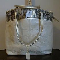 Coach Laura Large Ivory Embossed Python Exotic Tote Handbag F19696 New W/tag Photo