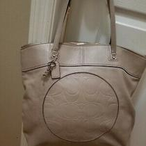 Coach  Laura Signature Beige Sand Color Shoulder Tote Patent Leather Purse Bag Photo