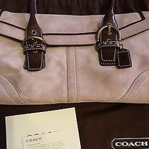 Coach Lavendar Suede Satchel With Brown Leather Trim Photo
