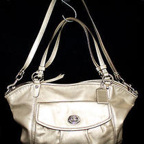 Coach Leah 13173 Metallic Gold Leather Convertible Satchel Shoulder Bag Photo