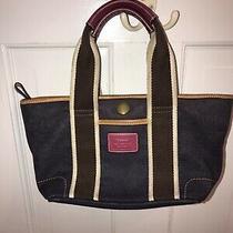 Coach Leather and Canvas Navy Hampton Mini Weekender Tote Handbag Purse Bag Photo