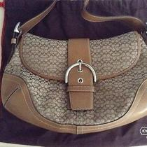 Coach Leather and Canvas Signature Print Hobo Photo
