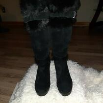 Coach Leather and Faux Fur Wedge Boots Size 9 Photo