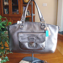 Coach Leather Anthracite Silver Gray Rocker toterem.strap &dustbag Nwt 298     Photo