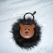 Coach Leather Bear Face With Fur Surround  Key Ring or Fob-Nwt Photo
