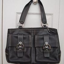 Coach Leather Buckle Satchel Handbag Blk  Photo