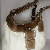 Coach Leather Buckle Soho Lynn Brown Winter White Shoulder Handbag Purse Satchel Photo