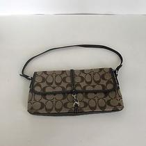 Coach Leather & Canvas Logo Purse- 100% Authentic - Brown - Small - Clutch Size. Photo