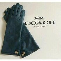 Coach Leather Cashmere Lined Glove Petrol Size 6.5 Logo Photo