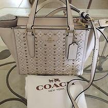 Coach Leather Chalk Floral Crosby Mini Rivets satchel11