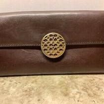 Coach Leather Clutch Wallet Deep Dark Brown Smooth Leather Brass Logo Closure Photo