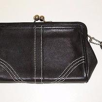 Coach Leather Coin Purse Black Chrome Kisslock Framed White Stitching Int Pocket Photo