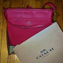 Coach Leather Crossbody/messenger Bag Red New Photo