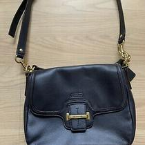 Coach Leather Crossbody Navy Blue Handbag Purse Flap Closure J1320-F25208 Euc Photo