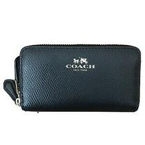 Coach Leather Double Zip Around Wristlet Wallet - Black Photo