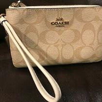 Coach Leather Double Zip Phone Wallet Wristlet Purse -Signature Jacquard Photo