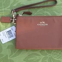 Coach Leather Double Zip Saddle Brown Wristlet Coach Box F64581 Nwt Photo