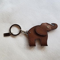 Coach Leather Elephant Moveable Key Fob Key Ring Charm Brown 62750 Photo