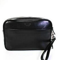 Coach Leather Four Compartment Medium Wristlet Bag Black Photo