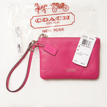 Coach Leather Fuchsia / Silver Campbell Small Iphone Wristlet  50078 With Tag Photo