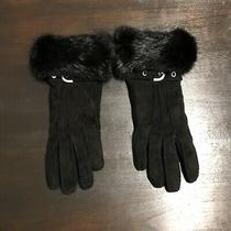 Coach Leather Fur Trimmed Gloves - Size 6.5 Photo