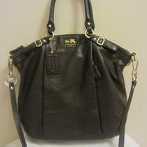 Coach Leather Handbag Dark Brown Photo