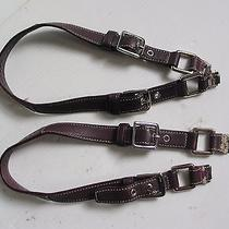 Coach Leather Handle Strap Pair With Hardware Brown Egg Plant Purple Photo
