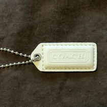 Coach Leather Keychain Key Ring Hangtag Fob Tan and White With Silver Tone Chain Photo
