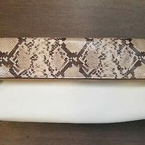 Coach Leather Large Clutch White & Snake Print Bag Purse A14930463 W/ Dust Cover Photo