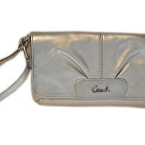 Coach Leather Large Flap Wristlet - Silver Photo