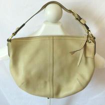 Coach Leather Medium Zipper Beige Hobo Shoulder Bag Purse Vintage A0882-11838 Photo