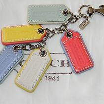 Coach Leather Multi Color  Keychain Key Ring Chain Fob Charm 62736 Rare Photo