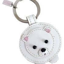 Coach Leather Polar Bear W/ Mink Keychain Key Ring  Photo