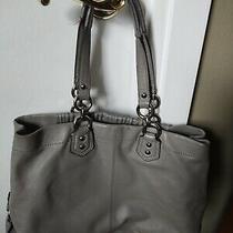 Coach Leather Satchel Handbag Purse Gray G1269-F19425 Womens Photo