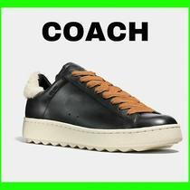 Coach Leather Shearling Sheep Fur Black Men Shoes Sneakers G1289 Sz 13 299 Photo