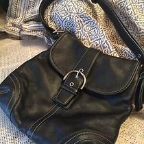 Coach Leather Shoulder Handbag Purse Black Silver Hardware Photo